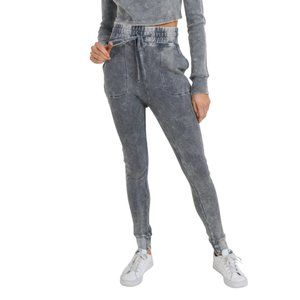 Cotton Waffle Mineral-Washed Skinny Joggers